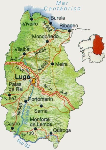 Mapa De Carreteras De La Provincia De Lugo Dependencia Es